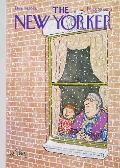 William Steig : Cover art for The New Yorker, 1968 The New Yorker, New Yorker Covers, Christmas Illustration, Children's Book Illustration, Illustrations, Winter Illustration, Christmas Cover, Christmas Art, Vintage Christmas