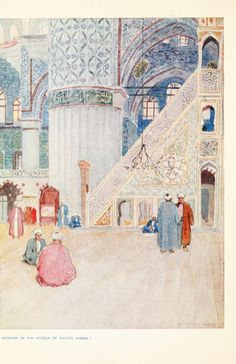 Interior Of The Mosque Of Sultan Ahmed I - Turkey, Peeps at Many Lands by Julius R. Van Millingen, 1906