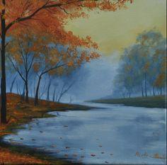 "For Sale: blue autumn by Martha Seale   $100   12""w 12""h   Original Art   https://www.vangoart.co/marthasealeart/blue-autumn @VangoArt"