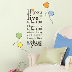 """Winnie the Pooh """"Live to be 100"""" Peel and Stick Wall Decals"""