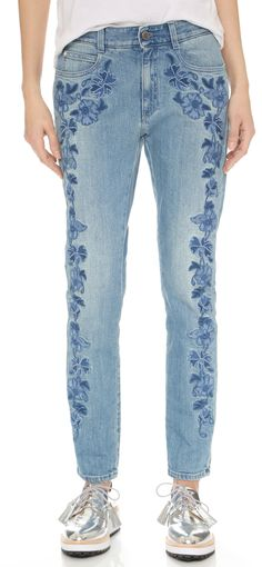 Stella McCartney Skinny Boyfriend Floral Embroidered Jeans