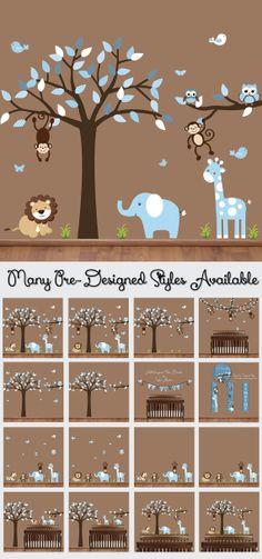 Nursery Tree Decal - Animal Wall Decal - Tree Wall Sticker - Safari Animal Decal - Jungle Decals - Lion Giraffe Elephant Monkey