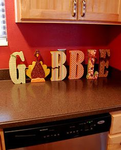 Thanksgiving block letters using scrapbook paper