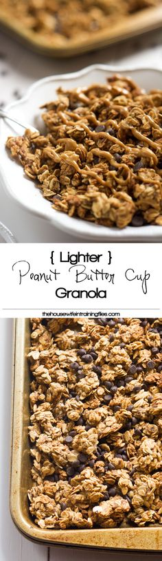 A lighter spin on granola that is filled with peanut butter and chocolate chips! This Lighter Peanut Butter Cup Granola tastes like a bite of your favorite candy! #granola #peanutbuttercup #healthy #glutenfree