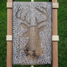 String Art Deer Silhouette in Reverse Style on Dark Stained Wood. Ready to Hang. Nailed It Designs.