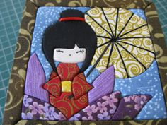 KOKESHI 11X11 21122012 (2) Crazy Quilting, Japanese Quilt Patterns, Asian Quilts, Fabric Book Covers, Hand Applique, Sewing Appliques, Diy Origami, Kokeshi Dolls, Fabric Dolls