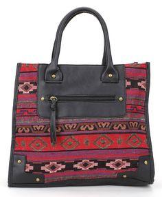 Aztec Inspired print tote bag<br>Dimensions: 14L * 12H [$29.95]