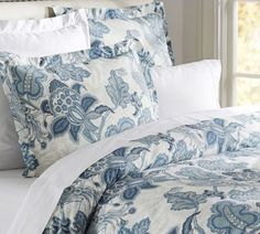 POTTERY-BARN-PAIGE-PALAMPORE-FULL-QUEEN-DUVET-COVER-EURO-SHAMS-NEW-BLUE-FLORAL