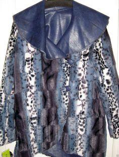 NEW Womens Plus Sized Blue Leopard Faux Fur Reversible Winter Jacket Coat Sze 3x #ChibyFalchi #FauxFurJacket