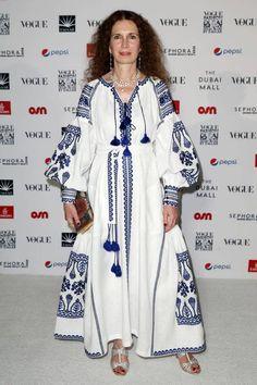 White dress with blue embroidery boho style vyshyvanka Abaya Fashion, Vogue Fashion, Boho Fashion, Fashion Outfits, Womens Fashion, Fashion Design, Iranian Women, Embroidered Clothes, Mode Hijab