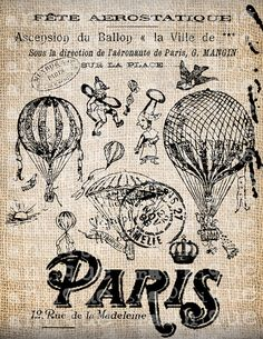 Antique Paris Postmarks Balloon Script Ornate Illustration Digital Download for Papercrafts, Transfer, Pillows, etc Burlap No 3691. $1.00, via Etsy.