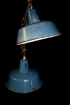 Pair of blue enamel pendant lights - 200€ for the pair - global shipping