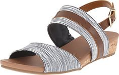 Dr Scholls Womens Minka Wedge Sandal NavyDark Saddle Harmony Stripe 8 M US -- Read more  at the image link.