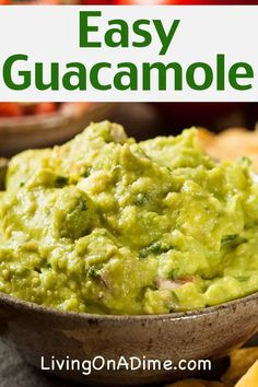 This easy guacamole recipe is super tasty and you can make it for a fraction of the cost of buying at a restaurant or pre-made at the store! If you find avocados on sale, you can easily make a bunch ahead of time and freeze in freezer bags the amount you would be likely to use at dinner. Homemade guacamole is a wonderful addition to any Mexican styled food or you can eat it with tortilla chips as a tasty snack. Homemade Guacamole Easy, Chunky Guacamole Recipe, Authentic Guacamole Recipe, Best Guacamole Recipe, How To Make Guacamole, Easy Guacamole Recipe With Sour Cream, Can You Freeze Guacamole, Tostada Recipes, Avocado Recipes