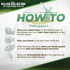 Spring is here and baseball season is in full swing. Learn how to throw a curveball brought to you by Million Dollar Arm! Million Dollar Arm, Hk Movie, Angels Baseball, Disney Printables, Movie Tickets, Baseball Season, Spring Is Here, Arms, Bring It On