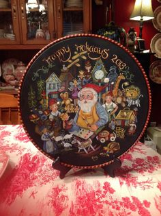Beautiful Christmas Plate, painted with a Jo Sonja design. By Ruth Sanford.