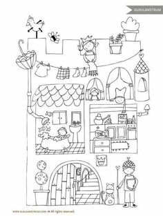 Coloring Book Pages, Coloring Sheets, Doodle Drawings, Doodle Art, Drawing For Kids, Art For Kids, Buch Design, Doodles, Digi Stamps