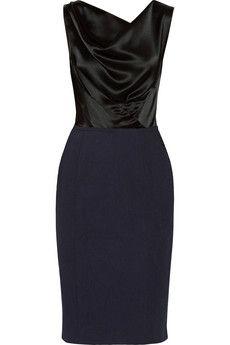 Nina Ricci Two-tone draped satin and cotton-jacquard dress | NET-A-PORTER