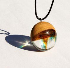 Wood Resin Pendant - Olive Wood - Multi-color marbled