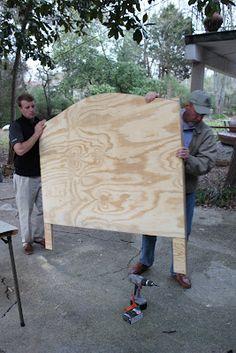 DIY Drop Cloth/Nailhead Trim Upholstered Headboard Tutorial from DIY show-off