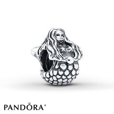 A lovely mermaid with long, flowing hair is realistically depicted in this sterling silver charm from the PANDORA Fall 2013 charm collection. Style # 791220.