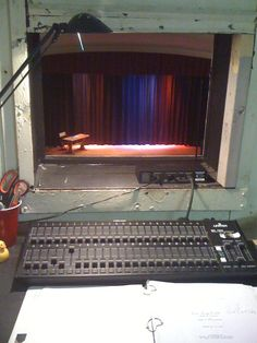 Theater. I have had this view many a times. I have done sound, some light, student directing/stage directing, grip, key grip, costume changer, carpenter, striker and actress.