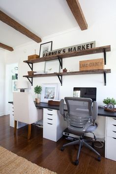 2″x12″ pine boards distressed and stained Special Walnut, $4 Ikea brackets  Home Office | Ikea Desk | Farmhouse | Cottage Style | Decorating