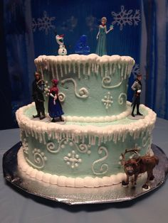 Disney Frozen cake. I made this for my daughter's fourth birthday party. I bought the figurines online since you won't be able to find them in the stores. I used buttercream icing and tinted it with the Wilton teal color gel food coloring. The white icing is royal icing to make the icicles. I watched a video on YouTube to learn how to make the icicles. Super easy. Look closely and see the pearl nonpareils in the swirls.
