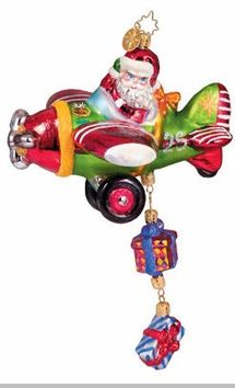 Image detail for -Christopher Radko Santa Ornament - Gifts Above - Airplane Ornament ...