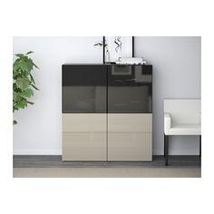 BESTÅ Storage combination w/glass doors - black-brown/Selsviken high gloss/beige smoked glass, drawer runner, soft-closing - IKEA
