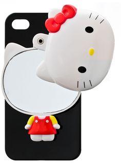 iphone 5s, black hello, hello kitti, kitti mirror, iphon case
