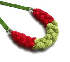 Cotton Braid Necklace Red and Lime  Free UK by rheaclements, £20.00