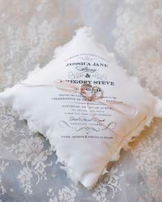 A hand-sewn cushion made from a handkerchief wedding invitation