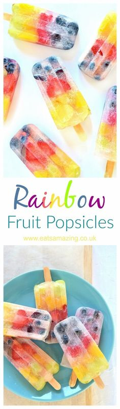 Easy rainbow popsicles recipe - these simple homemade fruit ice lollies are fun to make and perfect for kids - Eats Amazing UK