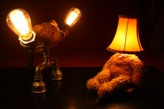 nice set of lamps, I like the idea Old Teddy Bears, Brown Teddy Bear, Old Lamp Shades, Punk, Desk Lamp, Light Bulb, Lamps, Led, Facebook