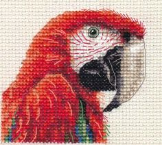 RED MACAW, Green Winged, PARROT - Bird, Full counted cross stitch kit | eBay