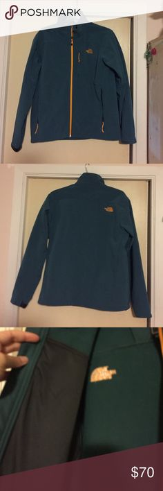 Teal and orange north face jacket. Mens L Sweet and unique colored North Face jacket. Mens size L. Teal with orange zipper and logo. Fleece on the inside. In great shape! Great for the fall/winter. Toggles at bottom to tighten. Shell: 96% polyester 4% elastane. Lining 100% polyester. The North Face Jackets & Coats Performance Jackets