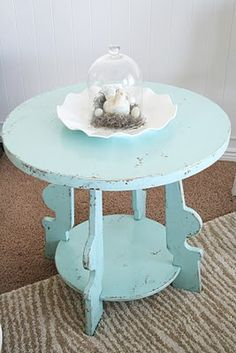 Lowe's Valspar paint color: Crystal Aqua. Love the cute little table!