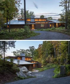 A Contemporary Family Retreat Designed For The Berkshire Mountains Modern Wood House, Modern House Design, Cabins In The Woods, House In The Woods, Mountain Home Exterior, Concrete Retaining Walls, Cedar Walls, Natural Stone Flooring, Modern Architecture