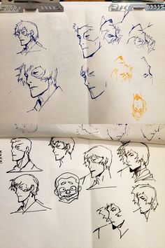"""""""I stopped by Ryu Ki Hyun's office to say hi and saw these cool head studies that he had done on a drawing pad. He told me these were from last year's Comic Con, before the signing. His wife told him he better practice. HA! In the end they told us to stop including drawings at the signing because it was taking too long, which always makes us sad. Anyway, these drawings make me happy."""" B. Konietzko"""