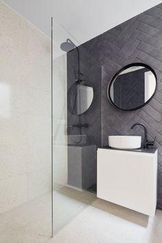 Allaround Lab, José Hevia · Refurbishment of an apartment in Barcelona Stone Bathroom, Bathroom Bin, Wooden Bathroom, Gold Bathroom, Bathroom Stuff, Bathroom Shelves, Washroom, White Bathroom Decor, Bathroom Layout