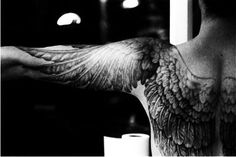 wing tattoo so done but I love the way this come out over the arms...