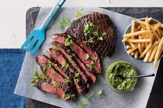 This skirt steak with green sauce makes for an excellent mid-week meal that's packed full of iron. Keep in mind the left overs will also make a great steak sandwich for lunch the next day.