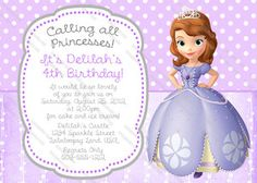 Image detail for -... The First Birthday Supplies Party Invitation Sophia The First | eBay