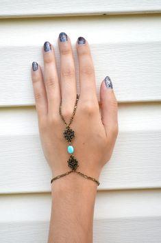 Hand Chain // Slave Bracelet // Bohemian Hand by FREETOBEbyJESSICA