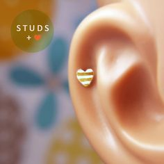 CARTILAGE heart sterling silver/ cartilage by StudsEarrings, $12.95