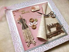 Luxury Handmade Sewing Theme Birthday Card