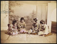 Japanese women playing cards, c.1867-90 (coloured photo)