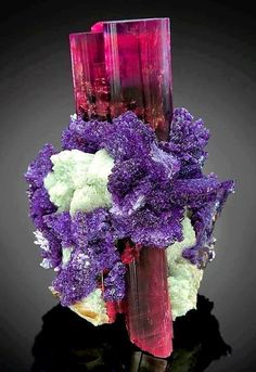 Stunning combination of Elbaite with albite and Lepidolite. From Oceanview Mine, San Diego County, California.