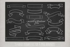 16 Vector & PNG Hand drawn banner clip art by michLgstudios, $4.95